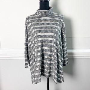 Anthropologie Oversize Stripe Cowl Neck Sweater